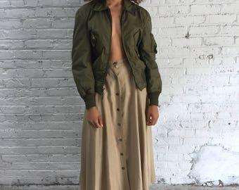 vintage army green military bomber jacket / nomex flight jacket / flyers jacket