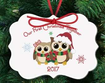 First Christmas together owl ornament - adorable couples 1st Christmas custom holiday ornament FCOO