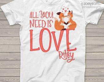 Valentine shirt all you need is love valentine fox Tshirt   snlv-022
