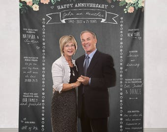 Custom Anniversary Backdrop, Anniversary Photo Booth Backdrop Banner, 25th Anniversary, Anniversary Party Decor/ W-A22-TP