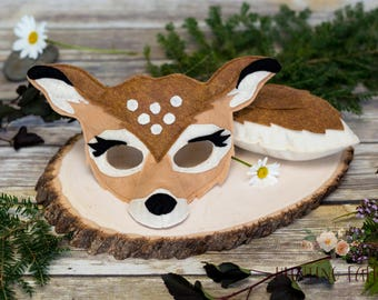 Meadow the  White Tail Deer Pretend Play Mask and Tail Set Fawn