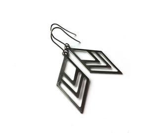 Geometric losange dangle earrings - Nickel free stainless steel