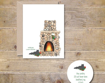 Cat Christmas Cards, Holiday Card Set, Cats, Cat Stationery, Cat Cards, Christmas Cards Cats, Pets, Family Cards, Cat Lover