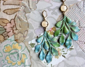 statement earrings. robins egg blue and green  boho earrings. vintage findings. boho. repurposed. eco fashion. vintage style. beachy.