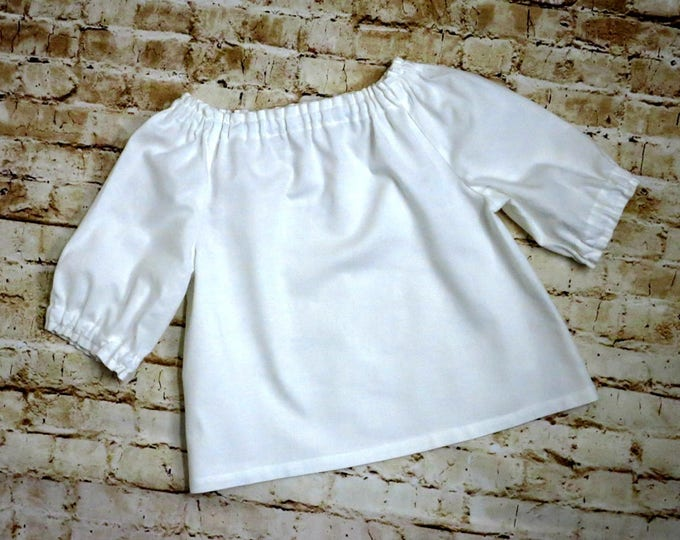 Peasant Blouse - Toddler Top - Girls Peasant Top - Toddler Clothes - Girls Shirt - White Blouse - Baby Clothes - sizes 6 months to 8 years