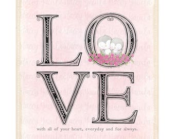 "art print - wall art - birds - love - water colour - ""Love Letters!"""