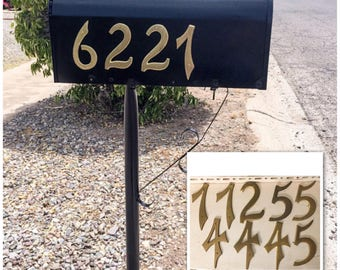Vintage Large Brass House Mailbox Address Numbers 1960s 1970s Hardware Mixed Media Project 4.5 Inches