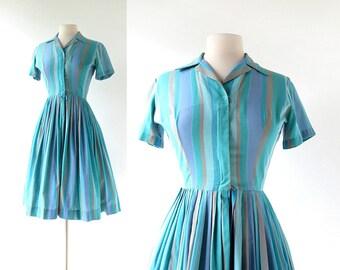 Vintage 1950s Dress | Striped Dress | 50s Vintage Dress | XS