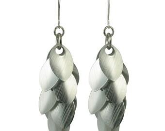 Brushed Silver A Simple Petal Earrings