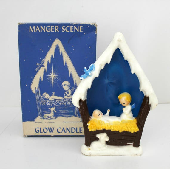 Manger Scene Vintage Gurley Candle in Box, Christmas Baby Jesus Nativity Decor