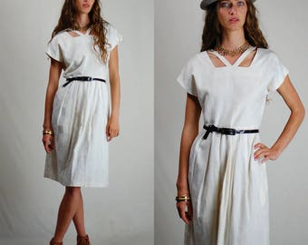 Vintage 80s Dress / 80s Dress / Vintage Dress / 80s Cotton Dress / Sheath Dress / Minimalist Dress / Simple Dress / Textured Dress / Small