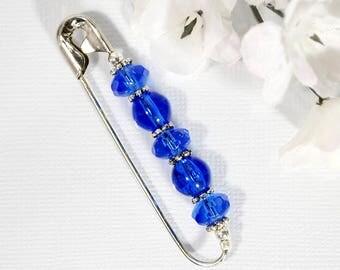 Blue Scarf Pin Blue Sarong Pin Beaded Hijab Safety Pin Fun Accessory Handmade