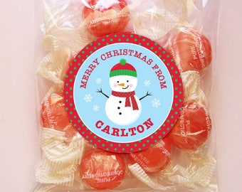 Personalized Christmas Gift Tags or Stickers - 2, 2.5 or 3 Inch Circle - DIY Printable - Little Snowman (Digital File)