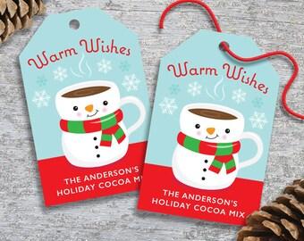 Personalized Christmas Gift Tags for Cocoa or Hot Chocolate Mix – DIY Printable – Snowman Mug (Digital File)