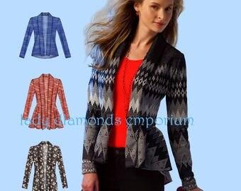 McCalls M6844 Womens Easy Shawl Collar Cardigan Peplum Tops size 4 6 8 10 12 14 Bust 29-36 Sewing Pattern 6844 Uncut FF