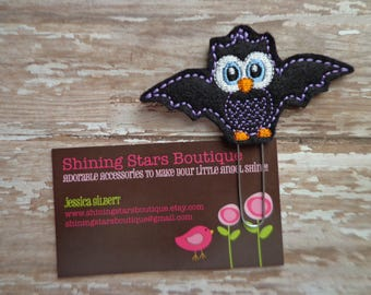 Fun Planner Clips - Black And Purple Halloween Owl Bat Paper Clip Or Bookmark - Bookmark Accessory For Holidays