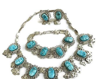 SALE Egyptian Revival Necklace Bracelet & Earrings Set Faience Scarab and Bib Collar Vintage