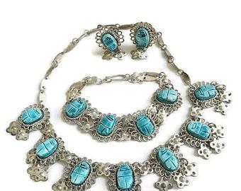 SALE Egyptian Revival Necklace Bracelet & Earrings Set Faience Scarab and Bib Collar Vintage