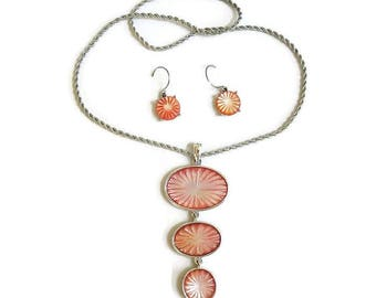 MONET Carved Coral Orange Iridescent Pendant Necklace and Dangle Earrings Vintage 1950's