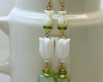 Vintage Mother of Pearl Tulip Flower Bead Dangle Drop Earrings, Vintage White Lucite Flower Beads,Green Glass Leaves Beads- GIFT WRAPPED