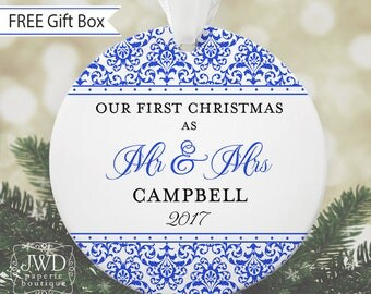 Couples Ornament Personalized First Christmas Ornament Wedding Christmas Ornament Newlywed Gift - Jazzy Damask Pattern-Choice of 30 Colors