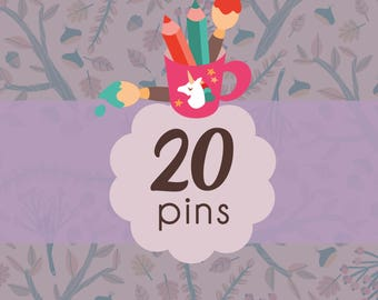 Pins set, 20 illustrated brooches of your choice, choose your favorite portrait brooches