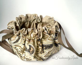 Small Drawstring Bag, Man's Jewelry Bag, Woman's Jewel Pouch, Unisex Accessory, Black and Tan Paisley