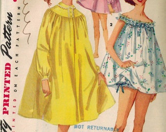 UNCUT 1950s Babydoll Night Dress & Bloomers Vintage Sewing Pattern Simplicity 1431 Size 12 Bust 30 inches