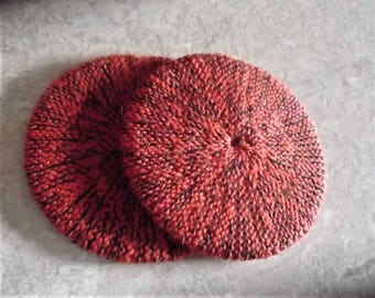Buy Bonnie's Two - Round Hand-Knit Orange/Black Cup/Glass-*Bottom Coasters Great For Hot Beverages -Made using wool/nylon/cotton Yarn/Thread