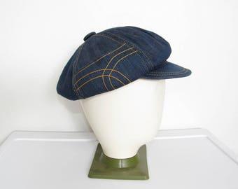 1970s Denim Newsboy Cap / Dark Blue w/ Stash Pocket / Vintage 70s Unisex Festival Hat