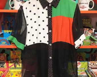 80's Color Block Polka Dot Blouse