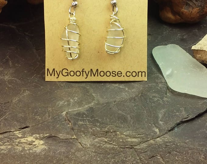 Sea Glass Earrings - White Wire Wrapped English Sea Glass Earrings - Beach Glass Earrings - Sea Glass Jewelry - Genuine Sea Glass