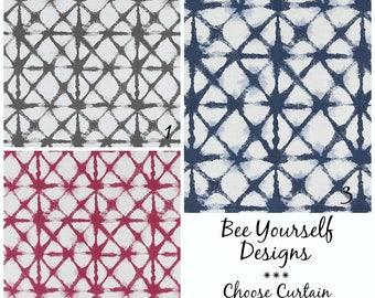 Shibori Curtains, Pair of Rod Pocket Panels,  Premier Prints Shibori Net Flax ~ Blue, Grey, Raspberry, Choose Color & Size