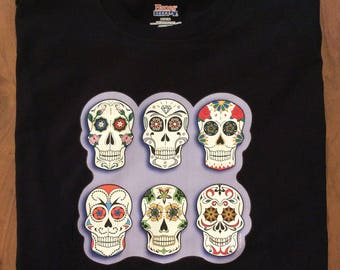 Sugar Skulls T shirt - 100% Cotton, Black, New, M, L or XL