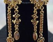Faux Tiger's Eye, Smokey Topaz Clip Earrings, Gold tone, Long, Vintage (I11)