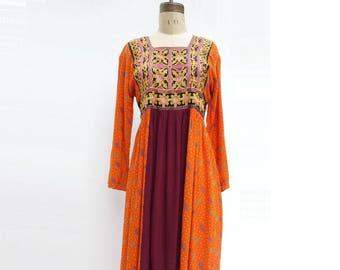 Afghan Kuchi Dress Boho Maxi Dress Embroidered Dress Middle Eastern Dress Tribal Maxi Dress Vintage Caftan Dress Vintage Ethnic Dress Small