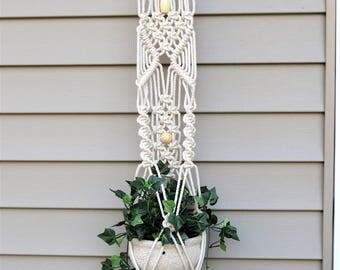 Cotton Plant Hanger - Small Macrame Plant Hanger - White Cotton Rope - Cotton Plant Decor - White Plant Hanger - Small Plant Holder