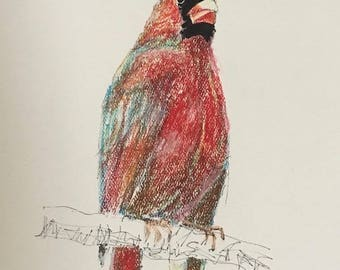 SPECIAL Cardinal 6, unique original pastel drawing of Red Bird, collectible Texas artist, Wolf Whistler