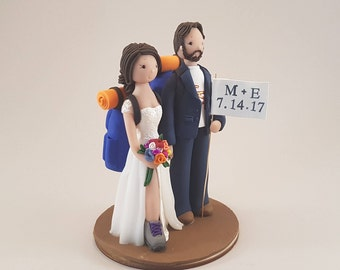 Bride & Groom Custom Hike Theme Wedding Cake Topper