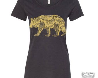 Womens CAlifornia BEAR -  Lightweight Tri Blend t shirt [+Colors] S M L XL XXL