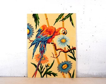 Paint By Number Red Parrot Craftint | Bamboo Parrot Paint By Number Painting | Paint By Number Parrot Birds