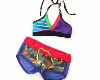 Candy Crush Gym/Swim Halter Sports Bra