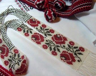 Ukrainian rose Gerdan, traditional Ukraine necklace, Handmade Jewelry, Beaded Necklace, Ukrainian Jewelry, long necklace Folk Ukrainian