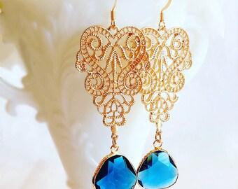 Chandelier Earrings - Blue - Statement Earrings - Dangle Earrings -  RHAPSODY Blue