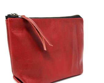 Red Leather Pouch. Leather Makeup Bag. Leather Clutch. Small Leather Bag. Medium Leather Pouch