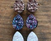 Tear Drop Shaped  Faux Druzy Rough Crystal Plugs Gauges. Rose Gold. Opal White.Purple. 2g (6mm) | 0g (8mm) |00g (10mm) | Half Inch (12mm)