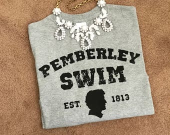 Made to order Womens Pemberley Swim Pride and Prejudice Jane Austen t shirt sizes S to XL