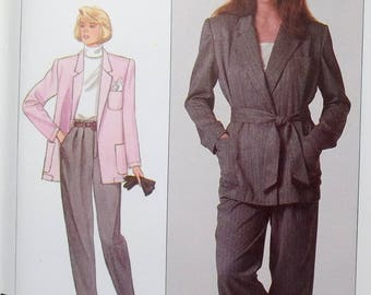 Misses' Pants and Loose Fit Belted Jacket Simplicity 8294 Sewing Pattern Women's 80's Career Separates, Front Tuck Pants, Size 10 - 14 UNCUT