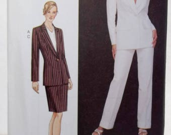 Plus Size Vogue 7578 Career Sewing Pattern Women's Fitted Lined Jacket, Above Mid Knee Straight Skirt, Straight Leg Pants Size 20 - 24 UNCUT