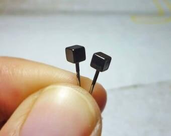 Tiny Cube Stud Earrings 3mm, Black Cube Earrings